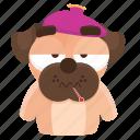 dog, emoji, emoticon, pug, sick, sticker
