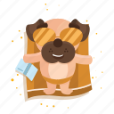 dog, emoji, emoticon, pug, sticker, sunbathing