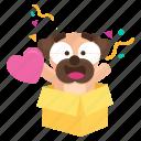 dog, emoji, emoticon, heart, pug, sticker, surprise