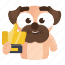 sticker, dog, trophy, award, pug, emoji, emoticon