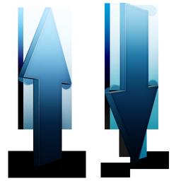 bleu, transfert icon