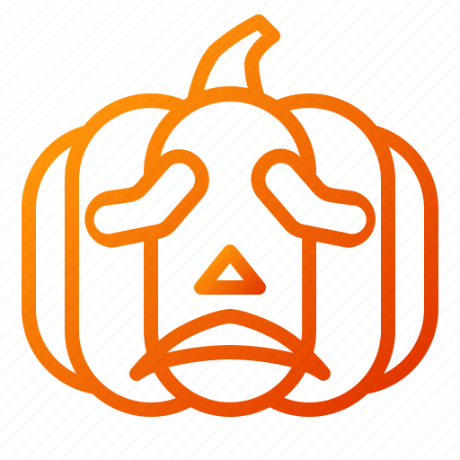 emoji, emoticon, halloween, lantern, pumpkin, sad, spooky icon