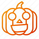 emoji, emoticon, halloween, lantern, pumpkin, shock, spooky icon