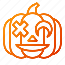 crazy, emoji, emoticon, halloween, lantern, pumpkin, spooky icon