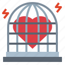 cage, heart, love, shape icon