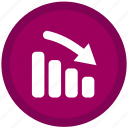 data, downward, file, financial, graph, trend icon
