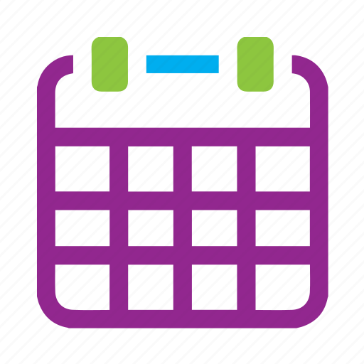 calender, date, purple, time icon