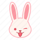 emoji, emotion, expression, face, rabbit, wink icon