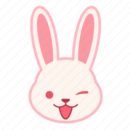 emoji, emotion, expression, face, rabbit, wink icon
