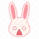 emoji, emotion, expression, face, rabbit, scared icon