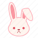 emoji, emotion, expression, face, frowning, rabbit icon
