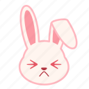 emoji, emotion, expression, face, persevering, rabbit icon