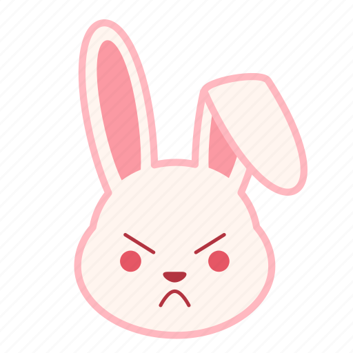 angry, emoji, emotion, expression, face, rabbit icon