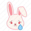 emotion, cry, face, rabbit, expression, emoji