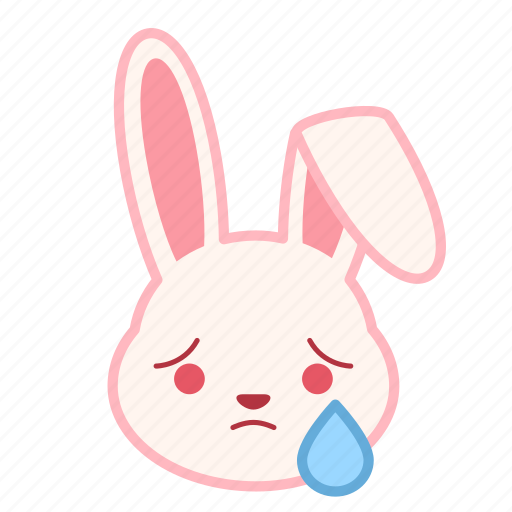 cry, emoji, emotion, expression, face, rabbit icon