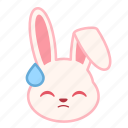 emoji, emotion, expression, face, rabbit, sad icon