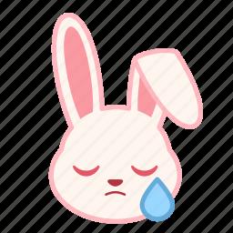 emoji, emotion, expression, face, rabbit, sad icon