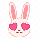 emoji, emotion, expression, face, love, rabbit icon