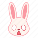 emotion, fearful, face, rabbit, expression, emoji