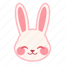emoji, emotion, expression, face, rabbit, shy icon