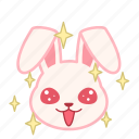 emotion, face, sparkle, rabbit, expression, emoji