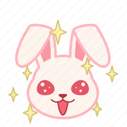 emoji, emotion, expression, face, rabbit, sparkle icon