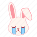 emotion, cry, face, rabbit, expression, emoji icon