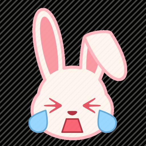cry, emoji, emotion, expression, face, rabbit icon