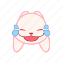 emoji, emotion, expression, face, laugh, rabbit icon