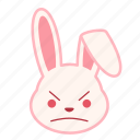 angry, emoji, emotion, expression, face, rabbit
