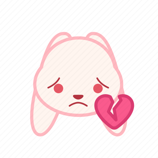 broken, emoji, emotion, expression, face, heart, rabbit icon