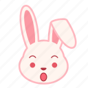emoji, emotion, expression, face, rabbit, surprised icon