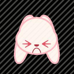 emoji, emotion, expression, face, frown, rabbit icon