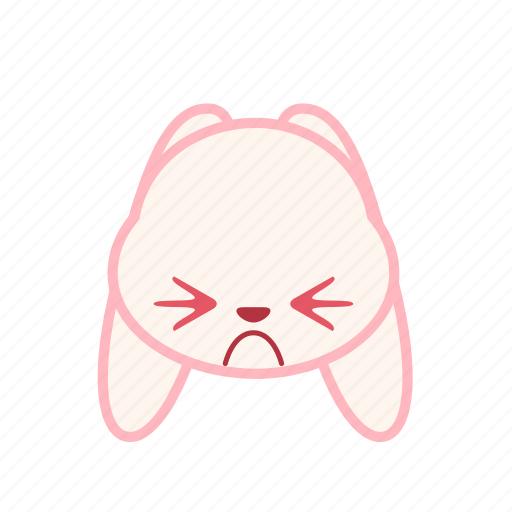 emoji, emotion, expression, face, frown, rabbit icon