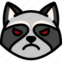 angry, emoji, emotion, expression, face, feeling, raccoon icon