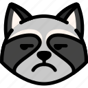 annoying, emoji, emotion, expression, face, feeling, raccoon
