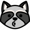 blowing, emoji, emotion, expression, face, feeling, raccoon icon
