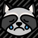 cry, emoji, emotion, expression, face, feeling, raccoon icon