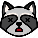 dead, emoji, emotion, expression, face, feeling, raccoon icon