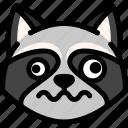 dizzy, emoji, emotion, expression, face, feeling, raccoon icon
