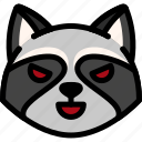 emoji, emotion, evil, expression, face, feeling, raccoon icon