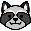 emoji, emotion, expression, face, feeling, grinning, raccoon icon