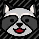 emoji, emotion, expression, face, feeling, happy, raccoon icon