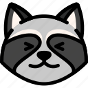 emoji, emotion, expression, face, feeling, happy, raccoon icon