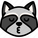emoji, emotion, expression, face, feeling, kiss, raccoon icon