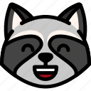 emoji, emotion, expression, face, feeling, laughing, raccoon icon