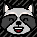 emoji, emotion, expression, face, feeling, laughing, raccoon