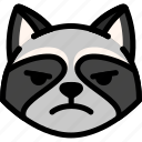 emoji, emotion, expression, face, feeling, mad, raccoon icon