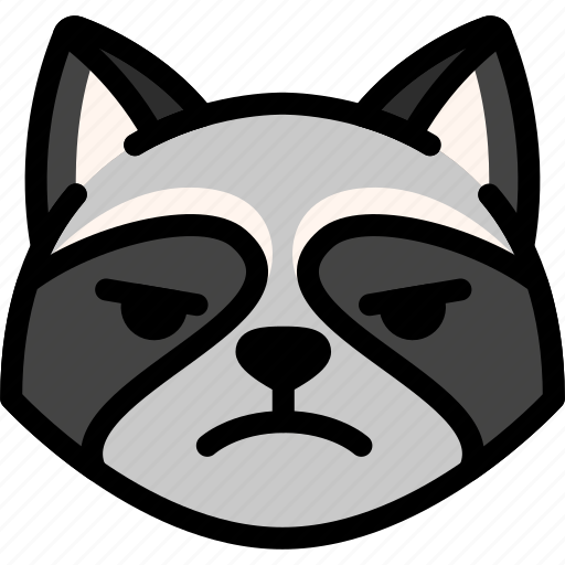 emoji, emotion, expression, face, feeling, mad, raccoon icon