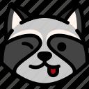 emoji, emotion, expression, face, feeling, naughty, raccoon